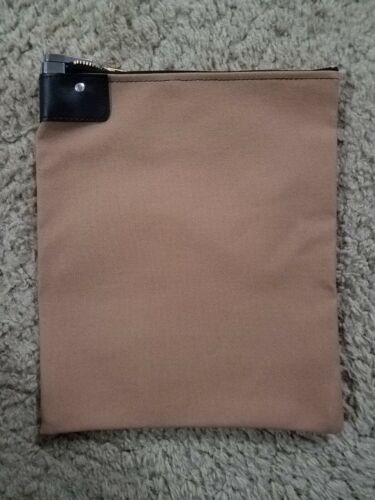 1 Tan Canvas Locking Bank Deposit Bag with Deluxe Pop Up Lock and 2 Keys