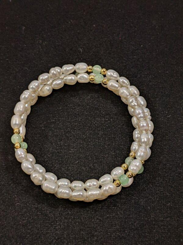 Artisan Freshwater Pearl Jadeite Bead Memory Wire Wrap Bracelet 12043