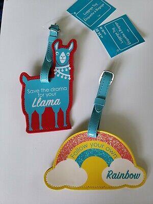 Luggage Tags Buckle on Llama/Rainbow ID Holder 2 Duffel Suitcase Travel Tags