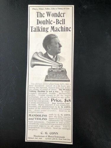 c1900s DOUBLE BELL WONDER C.G.Conn Talking Machine~Vtg Phonograph Art Print Ad