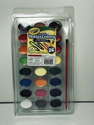 NEW CRAYOLA WASHABLE WATERCOLOR 24 COLOR SET Paint Brush Craft Toy Kids 53-0524