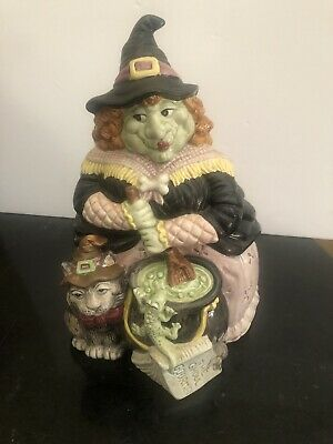 Rare Fitz and Floyd 1992 Halloween Hoedown Witch Cookie Jar