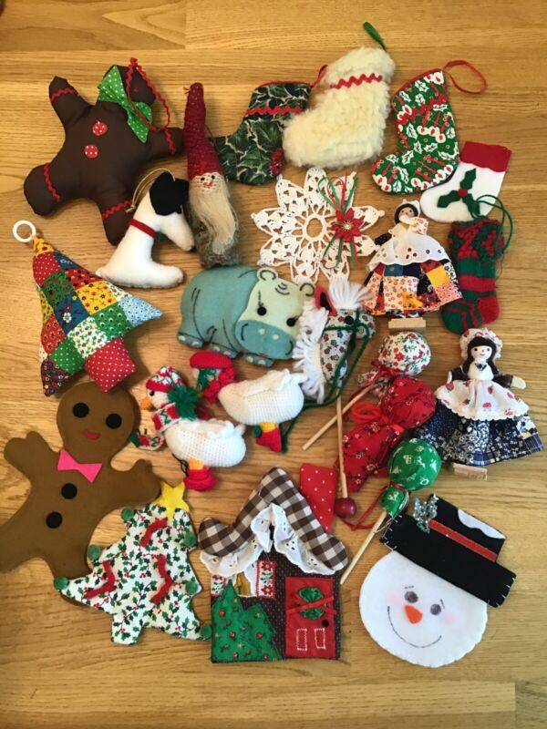 Large lot Vintage Handmade Christmas Holiday Ornaments cross fabric felt