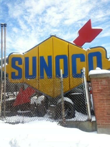 Vintage 1964 LARGE SUNOCO Illuminated Rotating Sign Two Sided Totally Awesome.