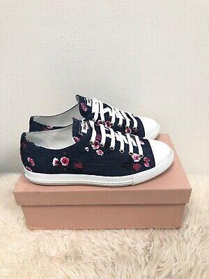 NIB Miu Miu Floral Denim Lace Chanel Ace Gucci McQueen Low Top Flat Sneaker 39