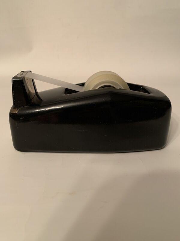 Vintage Scotch Tape Desk Dispenser Metal 3M Industrial C-20 Black