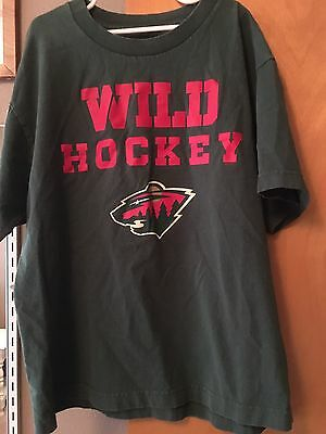 MINNESOTA WILD T-shirt Reebok Youth Large 14/16 Hockey NHL Green Red EUC