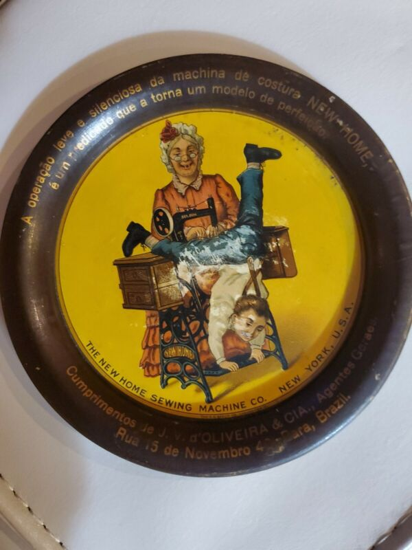 ANTIQUE NEW HOME SEWING MACHINE VINTAGE TIN LITHO TIP TRAY SIGN Brazil Spanish