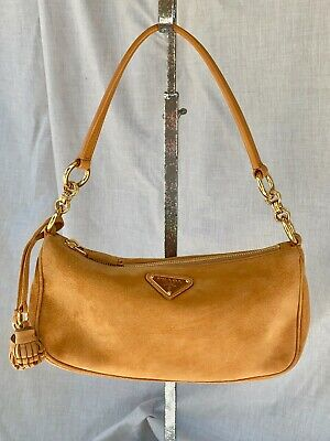VINTAGE PRADA AMBRA SUEDE CAMOSCIO BOX BAG EXCELLENT CONDITION COA & DUST BAG
