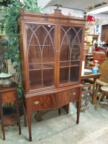 Antique Tall Mahogany Display Case – Federal Style – Brass Eagle top