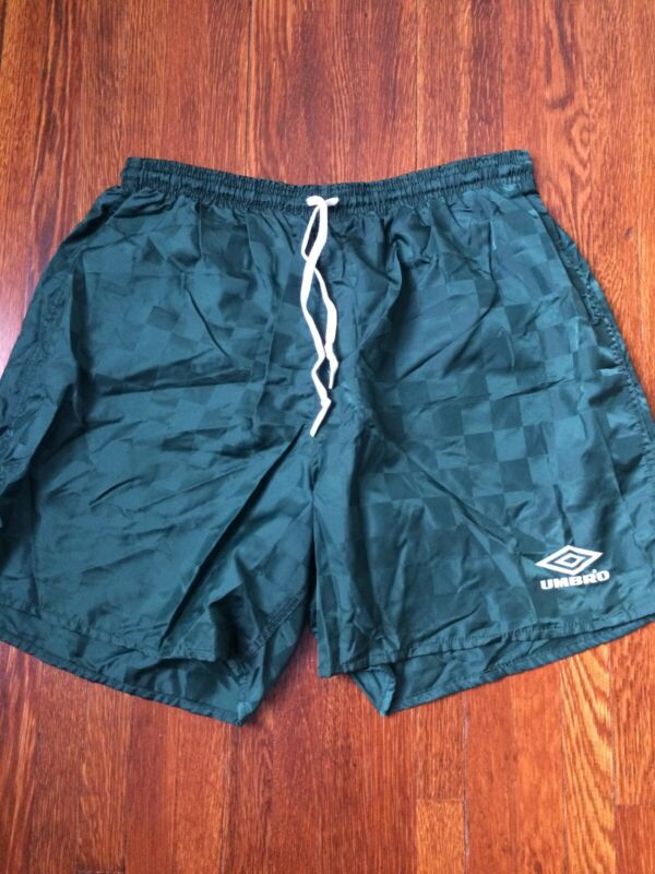 Vtg 90s Umbro Green Checketed Spell Out Nylon Soccer Shorts - Size XL