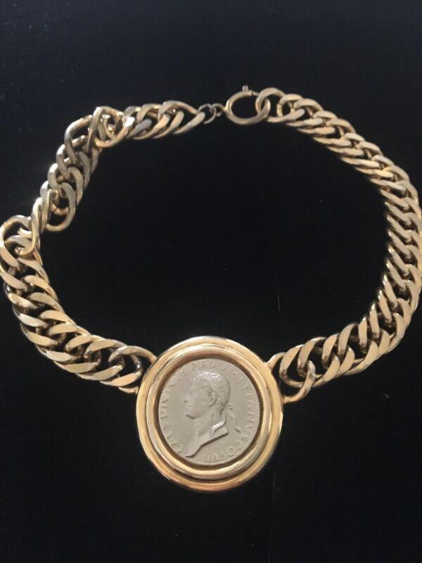 Carolee Vintage Heavy Link Coin Necklace