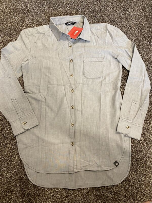 Womens North Face Long Sleeve Stevie Woven Style Shirt Button Up NWT Gray Size S
