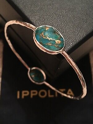 IPPOLITA Rock Candy Wonderland 2 Stone Bronze Turquoise Bangle 925 Silver $425