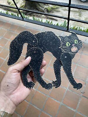 OLD Vintage Die Cut Halloween Decoration Antique Black Cat