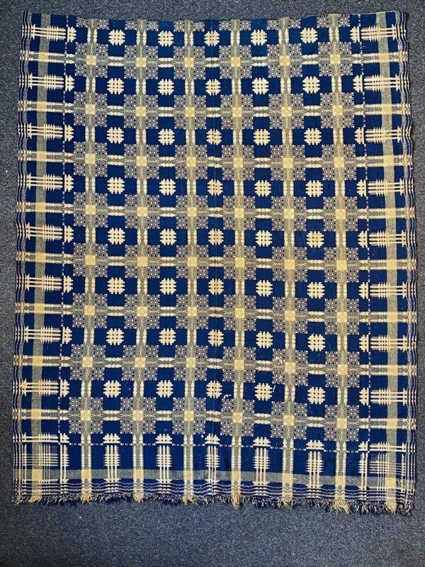 Double Weave Antique Coverlet Blanket Vintage Blue Pattern Overshot Woven Signed