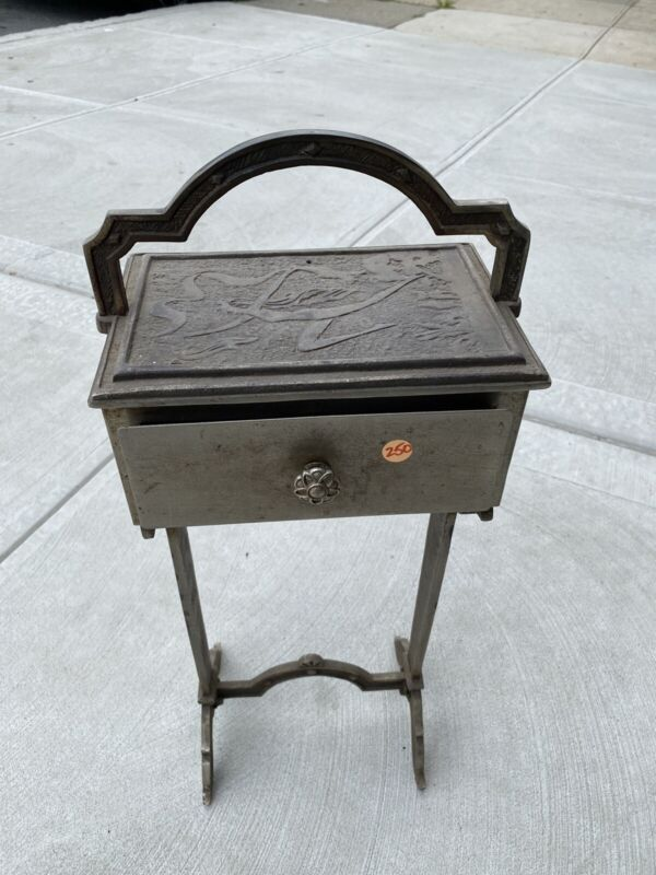 Art Nouveau Metal Side Accent Table With Draw Rare