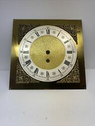 """Vintage 1977 Time Only Mantel Wall Clock Solid Brass Dial NOS 7-7/8"""" X 7-7/8"""""""