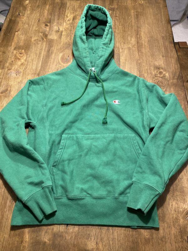 Vintage Champion Reverse Weave Hoodie Sweatshirt Green