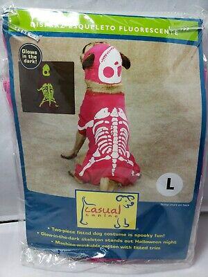 Freizeit Hund Im Dunkeln Leuchtend Pink Skelett Kostüm Halloween Groß L Knochen