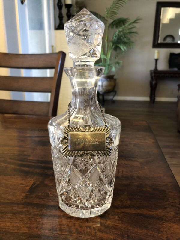 Glass Bar Liquor/ Vodka Electroplated Silver Plaque England Decanter Bottle