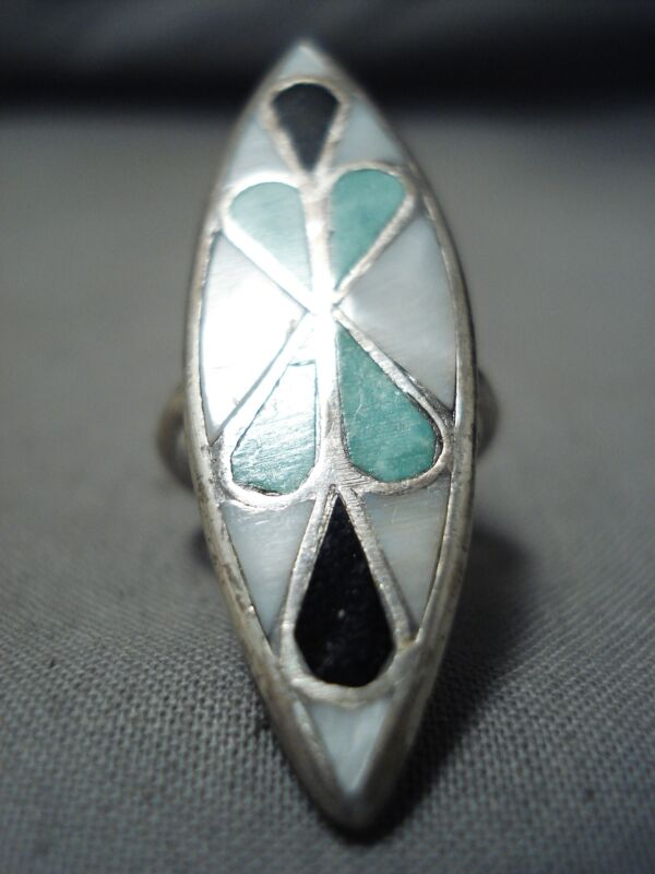 TALLER VINTAGE NAVAJO ZUNI TURQUOISE INLAY STERLING SILVER RING OLD