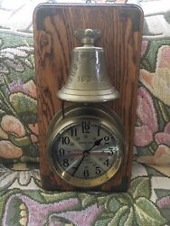 Vintage Quartz Ships Clock And Bell Queen Mary Bell Wall Mount ! Works Great