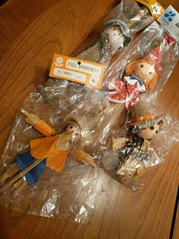 4 Vintage Halloween Straw Broom Doll Scarecrow Lee Wards Taiwan NOS Autumn Fall