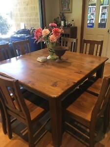 Large Kitchen Dining Table, Wooden 8 Seater.
