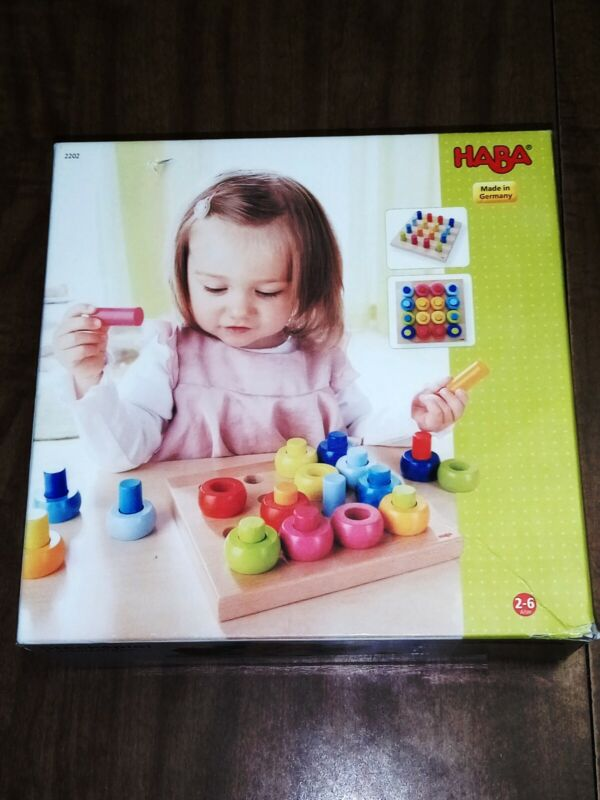 HABA Germany RAINBOW WHIRLS PEGGING GAME - For Toddlers, Ages 2 Years -...