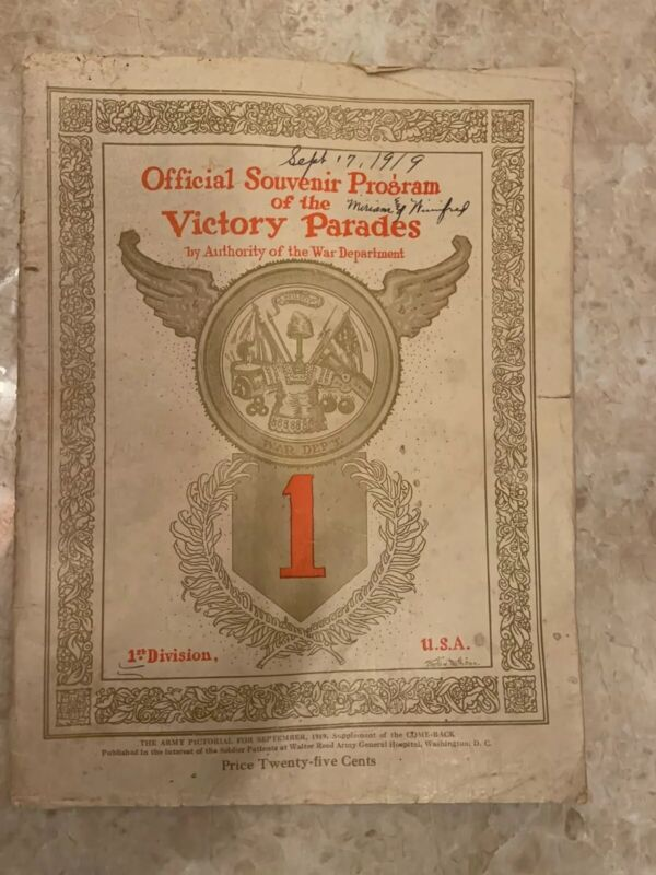 Original 1919 US Army 1st Division VICTORY PARADE Official Souvenir Program RARE