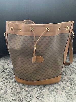 Gucci Vintage Brown Monogram Leather Drawstring Bucket Bag