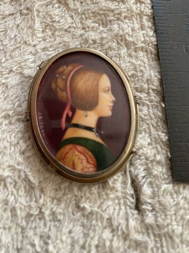 Antique Hand Painted Cameo Stunning Beautiful