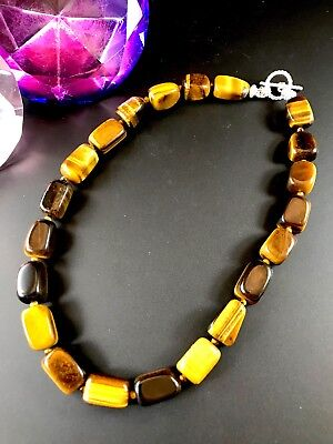GORGEOUS 925 STERLING SILVER FINISH TIGER EYE STONE BEAD COLLAR -