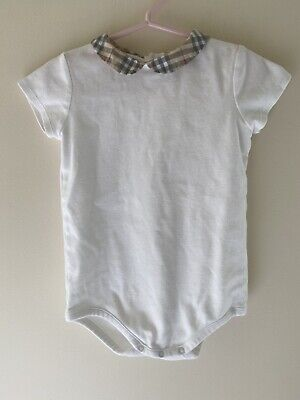 24Months Authentic Burberry Baby Girl Check Collar Bodysuit White Cotton Top