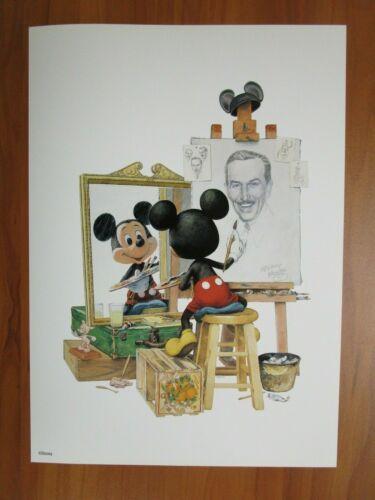 Disney Art Print Poster Walt Disney Self Portrait by Charles Boyer Mickey Mouse