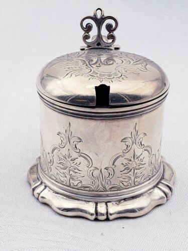 Monogrammed English Sterling Mustard Pot with Bright Cut Japanesque Design 10200