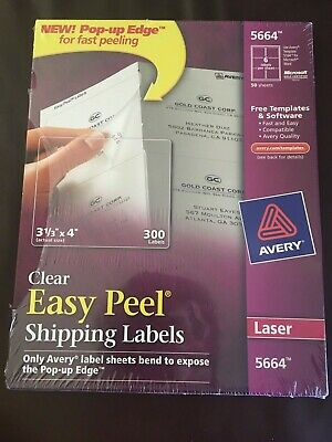 Avery 5664 Clear Easy Peel Shipping Labels Laser 3 13 X 4 Box Of 300 Ave5664