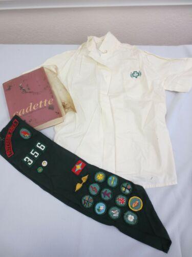 Vintage GIRL SCOUTS Cadette Blouse, Sash badges pins & 1966 Handbook