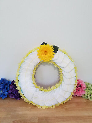 Diaper Wreath, Curved Diapers, Tissue Fringe, Artificial Flowers -Customizable