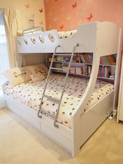 Triple Bunk Bed White with shelving