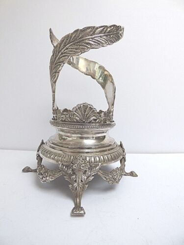 HEAVY SILVERPLATE HOLDER FOR GLASS VASE PAW FEET VICTORIAN SWAGS