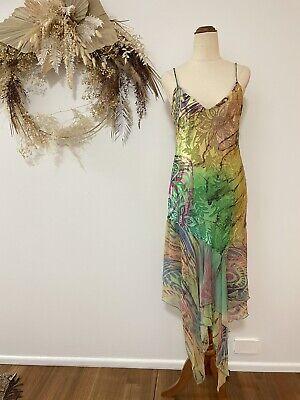 80s Dresses   Casual to Party Dresses Vintage Diane Freis Beaded Silk Blend Cock Dress Fit 6-8 AU Arty Gown Formal $124.73 AT vintagedancer.com