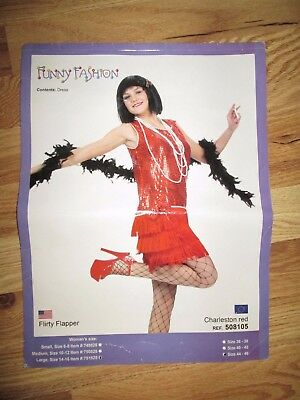 Womens ROARIN 50's FLAPPER Halloween Costume L Lg 14 - 16 Funny Fashion sexy - 50's Fashion Costumes
