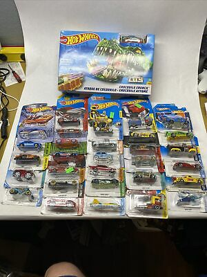 Lot of 30 Assorted Mattel Hot Wheel Cars - Various Makes & Models + Croc Crunch