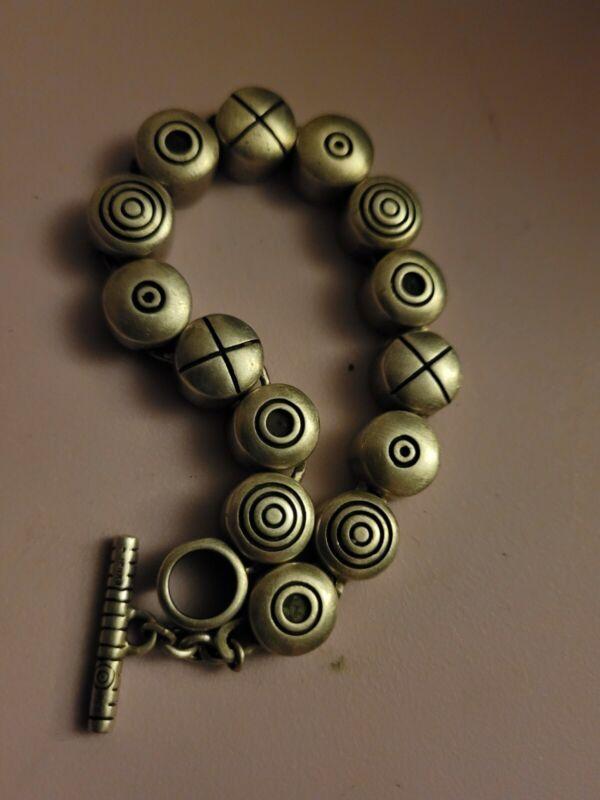 Vintage LISA JENKS 925 Sterling Silver Heavy Bracelet Circles Xs Links 56 Grams