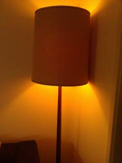 Large Mid-Century Beige Linen Lampshade