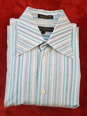 Jack Lipson Blue Stripe Button Down Long Sleeve Men's Dress Shirt Made in Canada, used for sale  Depew