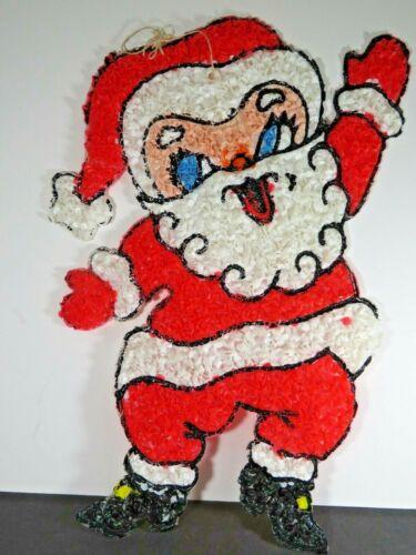 "Vintage Christmas Popcorn Melted Plastic Santa Wall Decoration 15.5""  Old B6338"