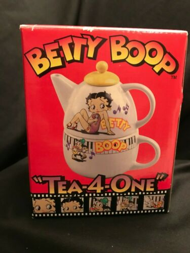 "Betty Boop Cartoon Vintage 1998 Tea 4 One Cup Set 18 oz Teapot NIB 6.5"" Rare"